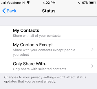 show whatsapp status on iphone to selected contacts