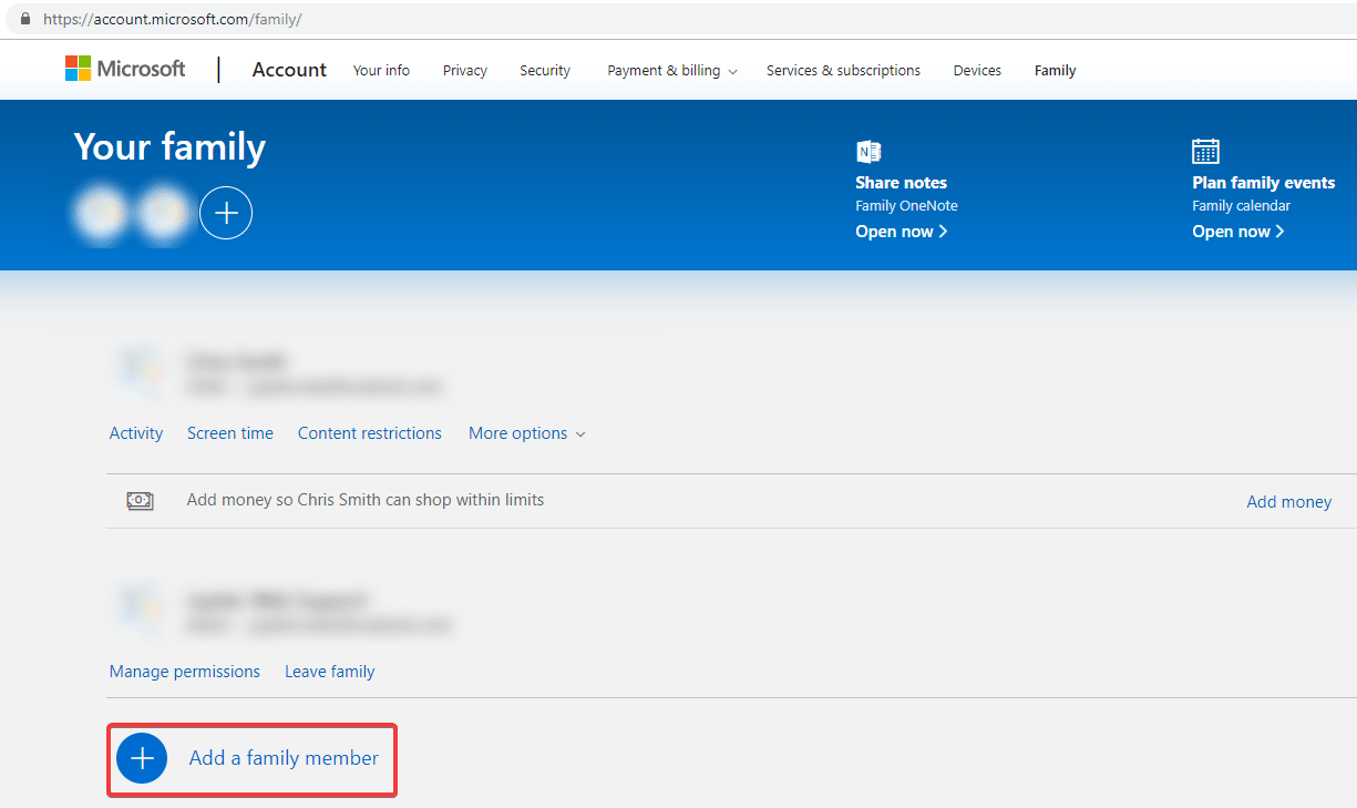 Add Family Member on account - 4