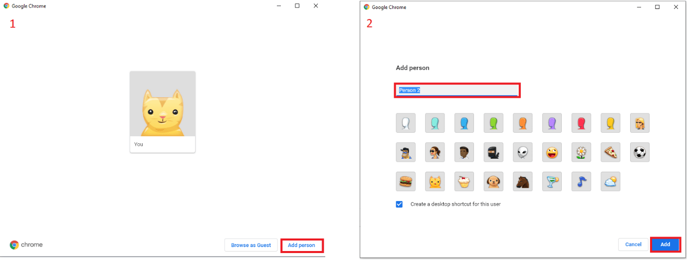 Add new Person in Google Chrome