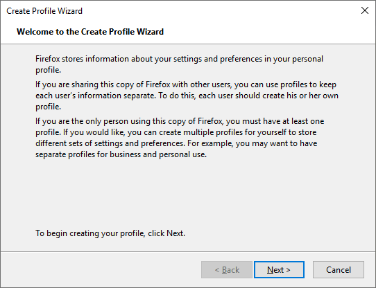 Begin Creating Profile in Create Profile Wizard