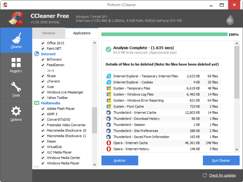 CCleaner PC optimizer Software