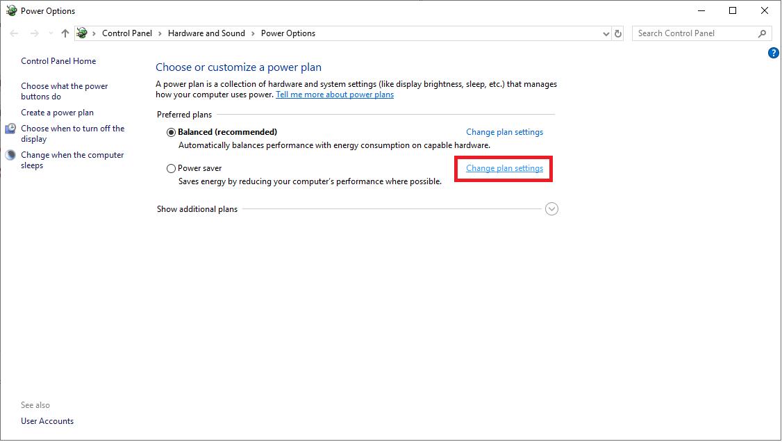 Change plan Setting - USB
