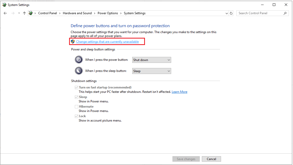 Change setting the are currently Unavailable