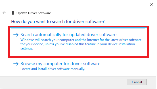 Click on Search Automatically to update driver