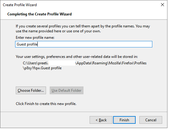 Completing the create profile Wizard