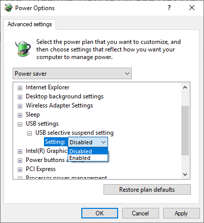 Disable USB suspend setting