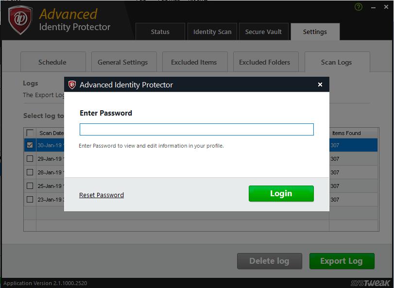 Enter the Secure Vault password