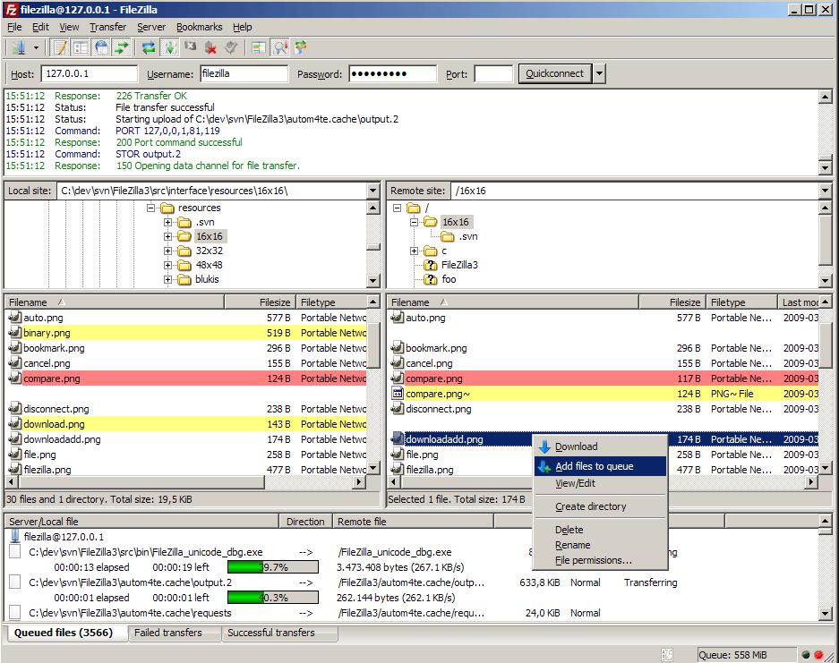FileZilla - file sharing software