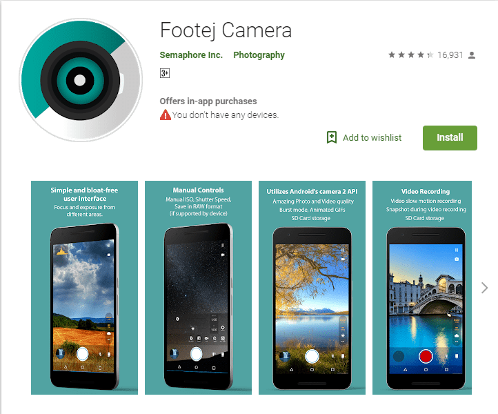 Footej Camera - Top camera apps for android