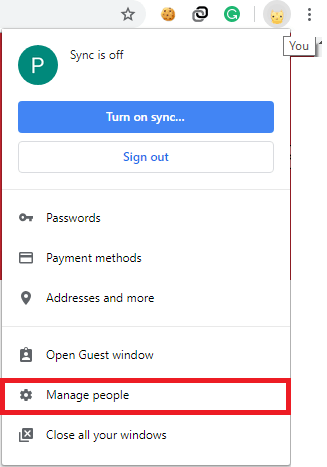 Manage People Option in Google Chrome