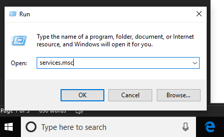 Open Run Command dialogue box