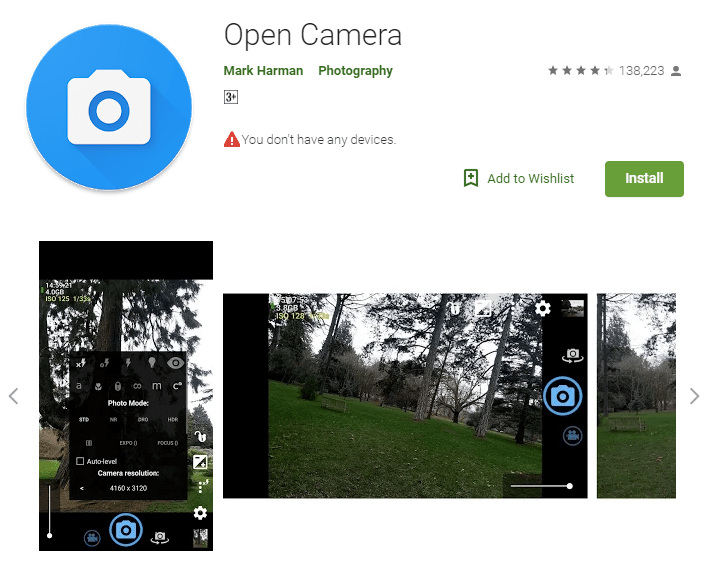 Open camera android app