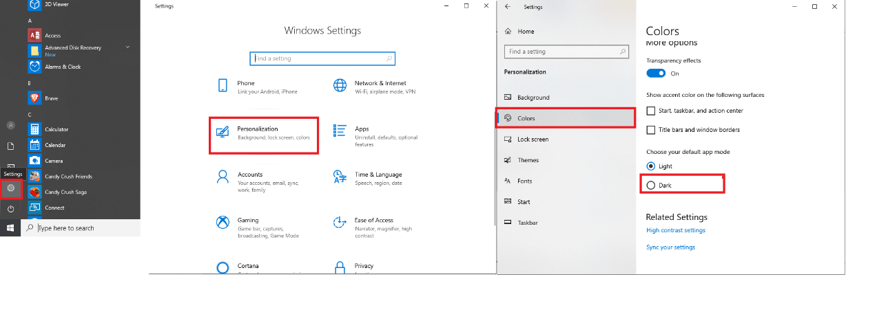 Select Windows 10 Dark Mode