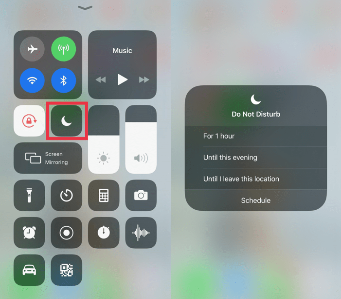 Temporary Do Not Disturb Control Centre in iOS