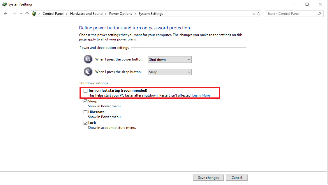 Turn on fast Startup in System Setting