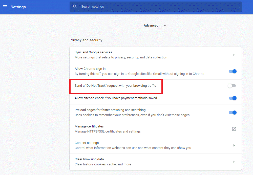 Turn on the Do Not Track Request in Browser setting