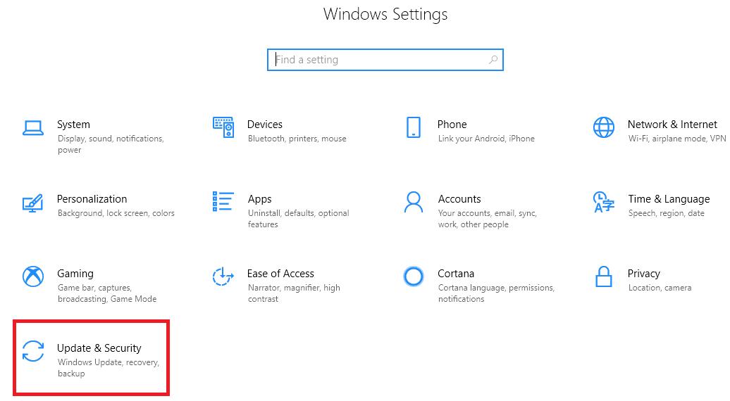 Update & Security option in Windows - Tweaklibrary