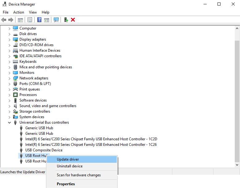 Update USB Root Hub