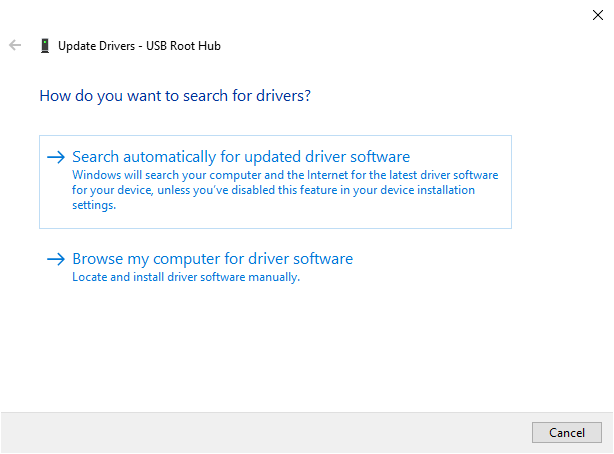 Update all USB Root Hub Device Drivers