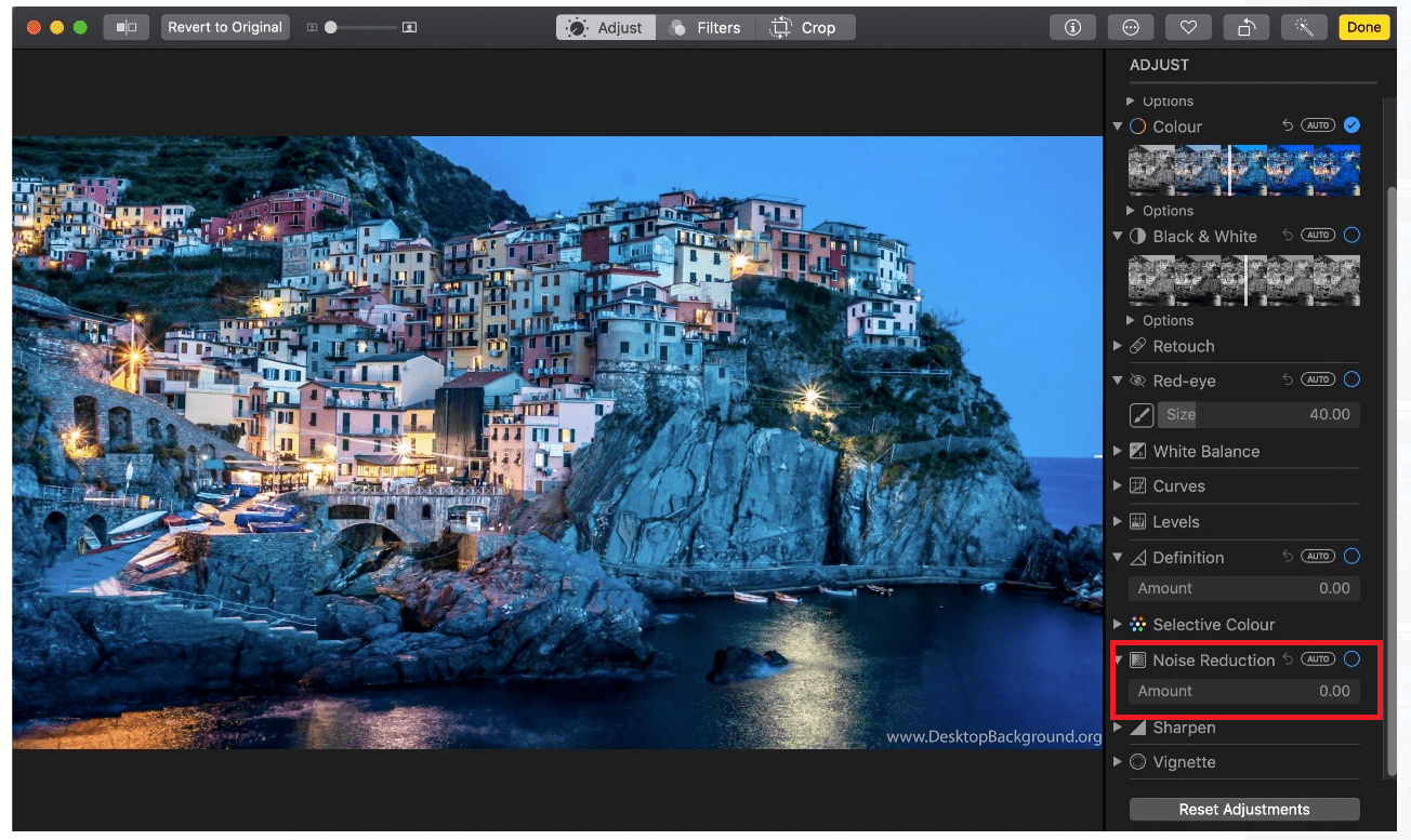 Use Noise Reduction with Photos for Mac - Tweaklibrary