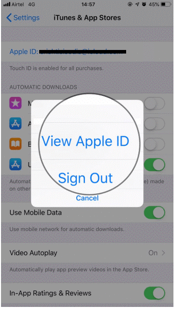 View Apple ID from the pop-up