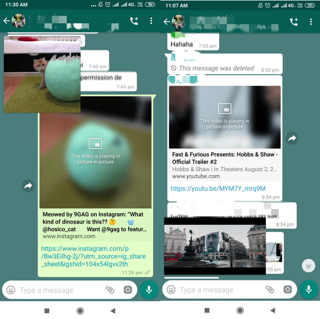 Whatsapp - Picture in picture mode
