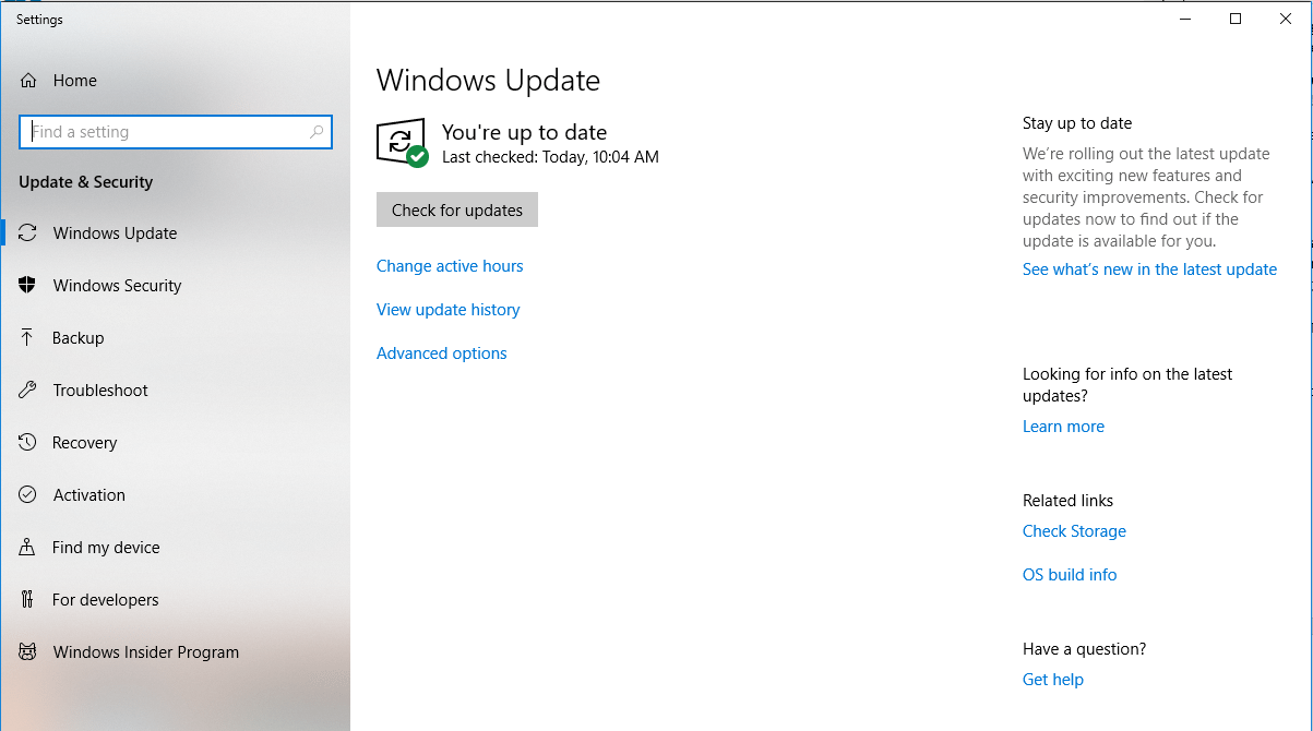 Windows Update - Check for updates