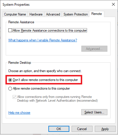do not allow remote access on this pc