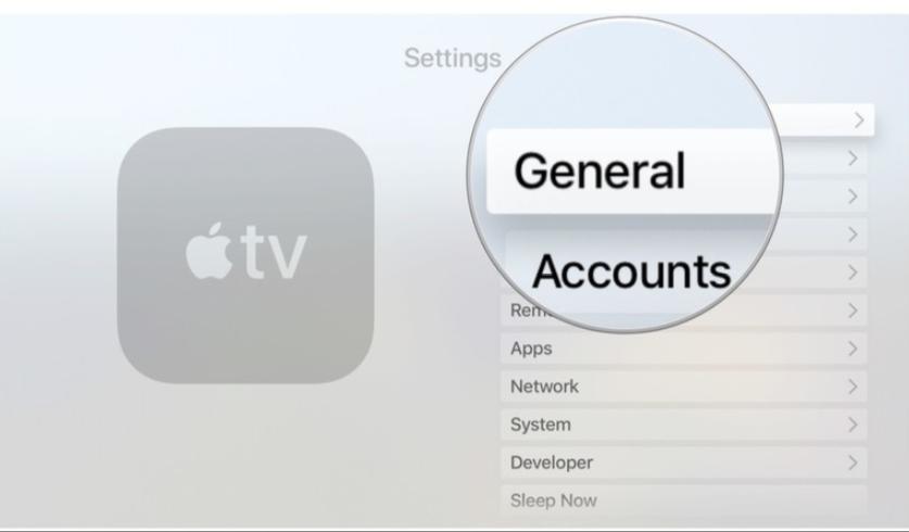 general settings in apple tv