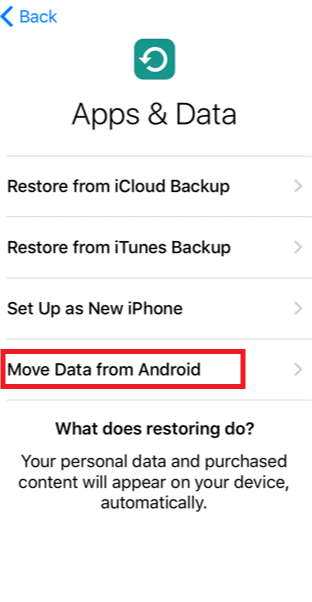 move data from android to ios easily