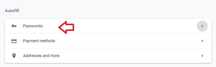 password settings in google chrome