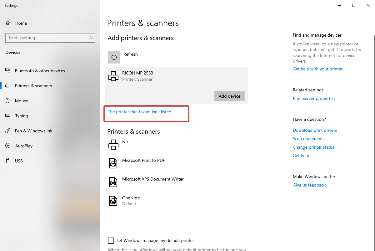 Add printer manually on windows 10