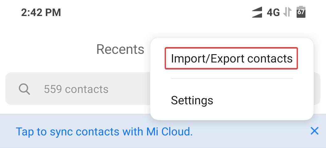 Android contacts menu - import export