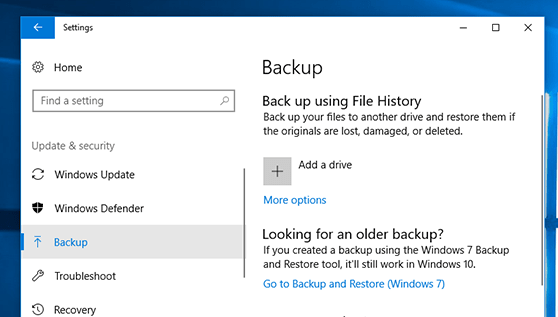 Backup your PC with File History