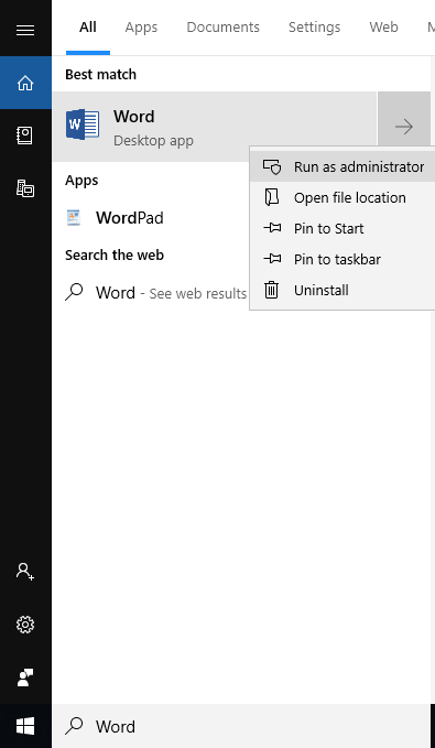 Choose Run As Administrator of Word