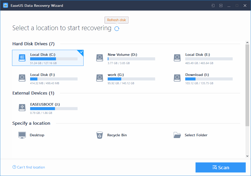 Easeus Data Recovery - Choose File Location
