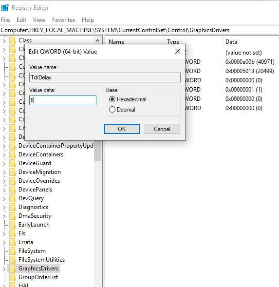 Edit QWORD 64 bit Value - Display driver stopped responding