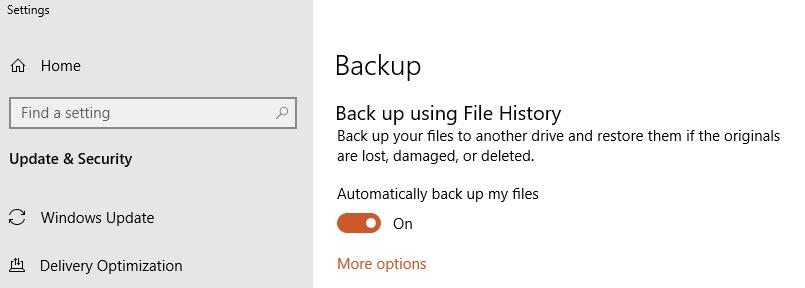Enable backup using File History