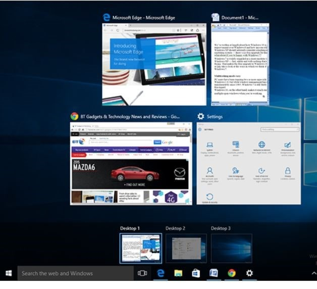Multiple desktops - Upgrade from windows 7 to 10