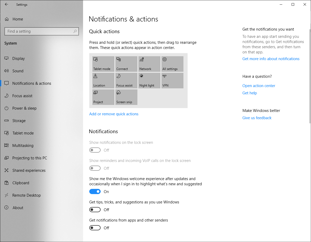 Notification and actions of Windows