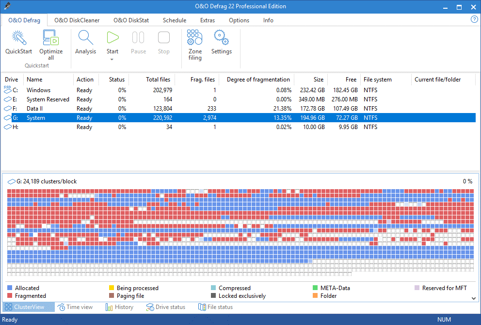O&O Defrag Disk Defragment windows