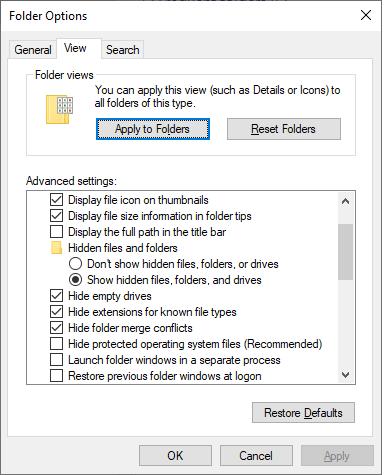 Open Advanced Setting in Folder Option Window