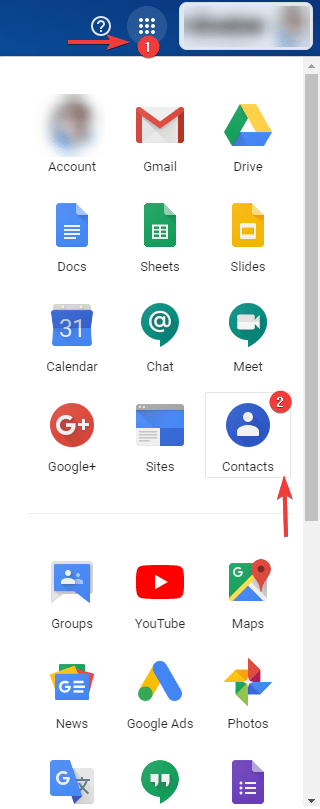 Open Google contacts in Google Apps