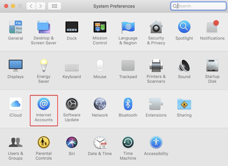 Open Internet Accounts on Mac Setting