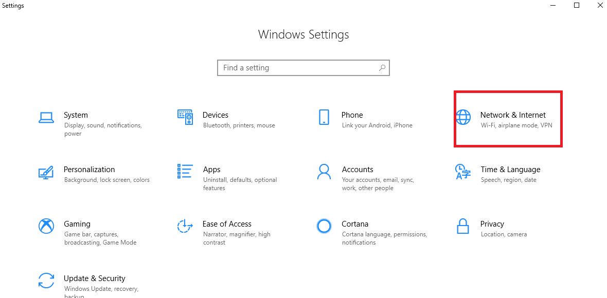 Open Windows Setting