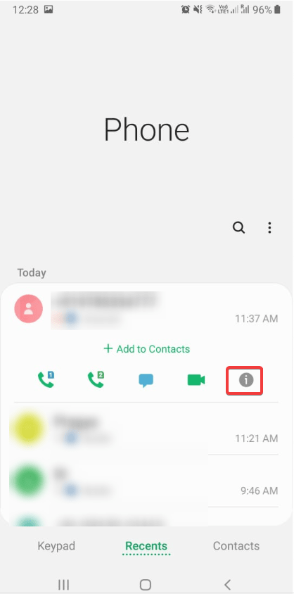 Open phone app on Android to block contact