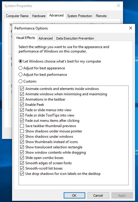 Performence options - Display driver stopped responding