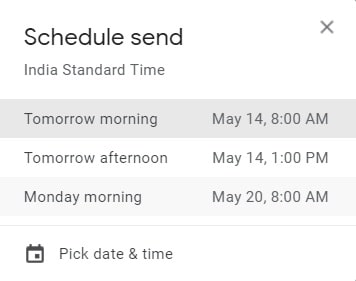 Pick Date and Time to Schedule Mail