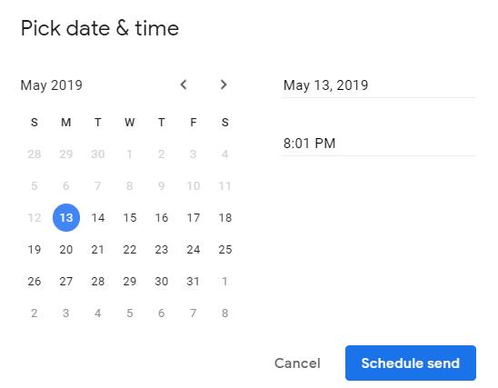 Pick Date for Gmail Schedule Send