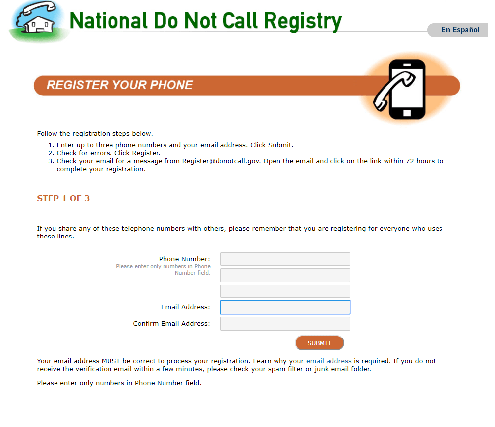 Register your cell phone to FTC Do Not Call Registry